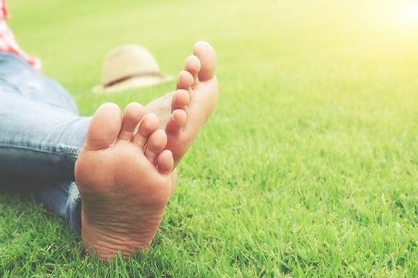 Gesunde Füße auf einer Wiese
